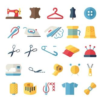 Set di icone vettoriali cucito attrezzature e ricamo