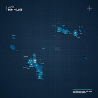 Illustrazione di mappa delle seychelles di vettore con punti luce al neon blu