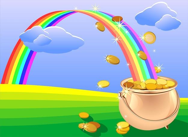 Vaso di metallo lucido vettoriale pieno di monete d'oro e arcobaleno sul campo