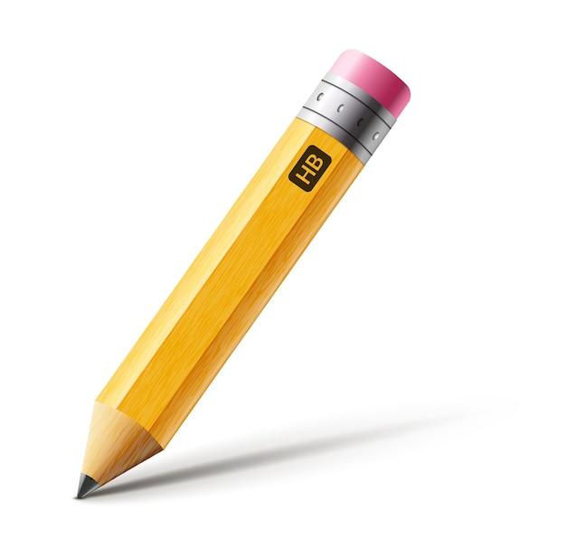 Matita gialla corta vettoriale, fumetto isolato matita realistica con gomma da cancellare.