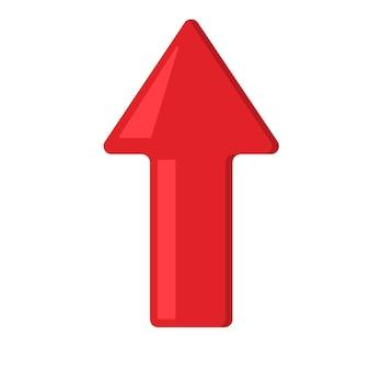 Freccia rossa del segno di vettore su. illustrazione vettoriale piatta su sfondo bianco