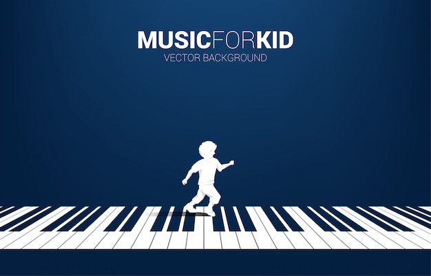 Vector la siluetta del ragazzo che funziona con la chiave del piano con la nota di musica di volo. musica di sottofondo di concetto per bambini e ragazzi.