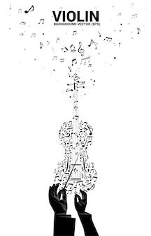 Siluetta di vettore della mano del conduttore con la nota di melodia di musica che balla l'icona del violino di forma di flusso