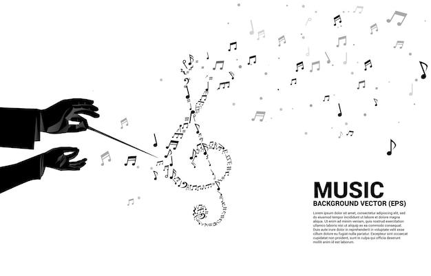 Siluetta di vettore della mano del conduttore con flusso di danza della nota chiave del sol di forma di musica melodia