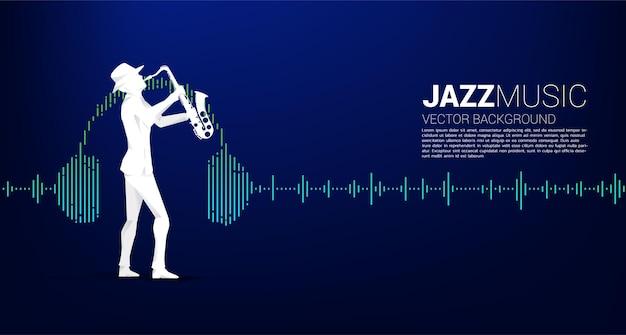 Siluetta di vettore dell'uomo e del sassofono in piedi con lo sfondo dell'equalizzatore musicale delle cuffie. sfondo di concetto per concerto di musica classica e ricreazione.
