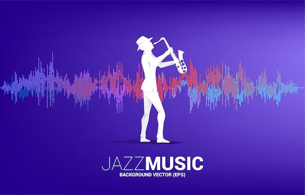Siluetta di vettore dell'uomo e del sassofono in piedi con sfondo di equalizzatore musicale. sfondo concettuale per concerti di musica classica e ricreazione.