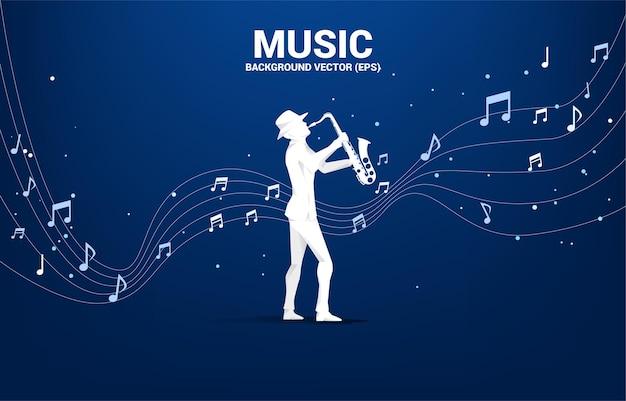 Siluetta di vettore del sassofonista con flusso di danza nota melodia musicale. sfondo di concetto per concerto di musica classica e ricreazione.