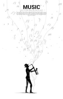 Siluetta di vettore del sassofonista con flusso di danza nota melodia musicale. sfondo concettuale per concerti di musica classica e ricreazione.