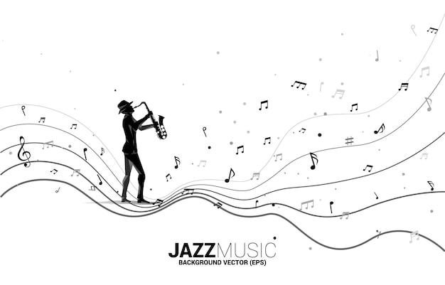 Siluetta di vettore del sassofonista con flusso di danza nota melodia musicale. priorità bassa di concetto per il concerto e la ricreazione di musica jazz.
