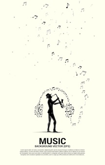 Siluetta di vettore del sassofonista con flusso di danza nota melodia musicale con cuffie. sfondo di concetto per il concerto di musica jazz e ricreazione.