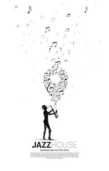 Siluetta di vettore del sassofonista con musica melodia nota danza flusso con pin icon.concept sfondo per festival di musica e luogo di concerti.
