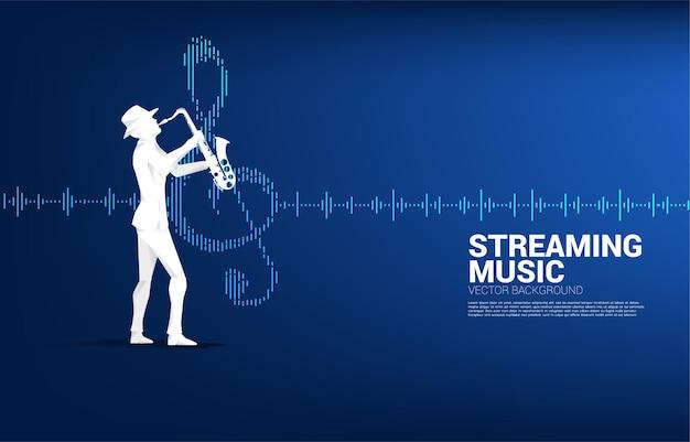 Siluetta di vettore del sassofonista con l'icona della nota musicale priorità bassa dell'equalizzatore dell'onda sonora. sfondo del concetto per la canzone jazz e il tema del concerto.