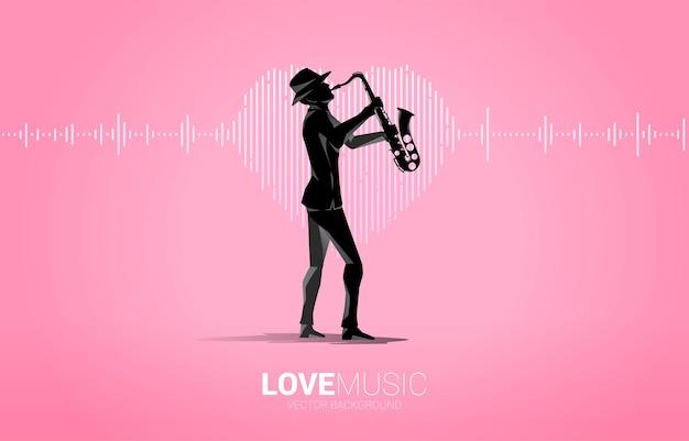 Siluetta di vettore del sassofonista con l'icona del cuore dell'onda sonora sfondo equalizzatore musicale. segnale visivo musica canzone d'amore