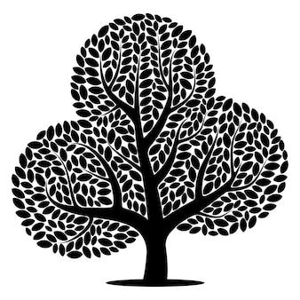 Siluetta di vettore di un albero isolato su sfondo bianco