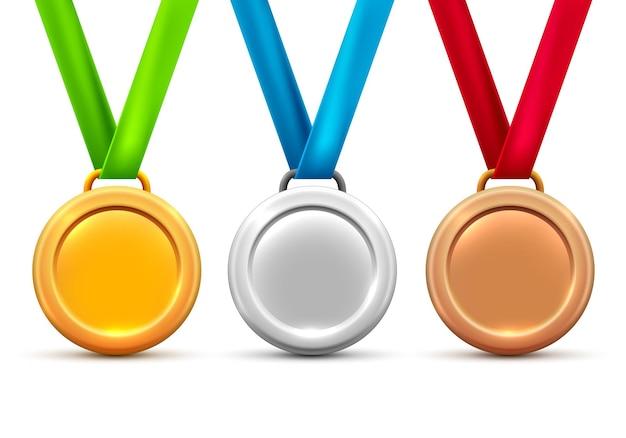 Icona del premio medaglia di bronzo oro argento vettoriale. design del premio trofeo vincitore in metallo.