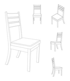 Sedia semplice di vettore con l'illustrazione del profilo di viste differenti