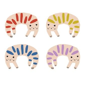 Risorsa grafica vettoriale semplice e carino disegnato a mano a strisce colorate gatti illustrazione animale