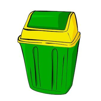 Schizzo di disegno a mano semplice vettoriale, cestino vuoto pulito verde e giallo su sfondo bianco