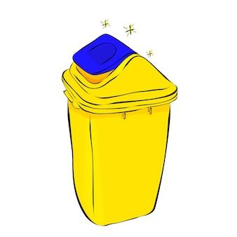 Schizzo di disegno a mano semplice vettoriale, cestino vuoto pulito giallo e blu su sfondo bianco