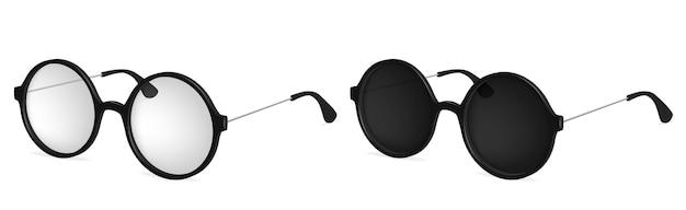 Occhiali rotondi semplici vettoriali, occhiali da sole e da lettura