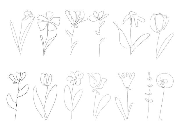 Insieme disegnato a una linea di vettore dell'illustrazione del profilo del disegno a mano del fiore dei fiori isolata su