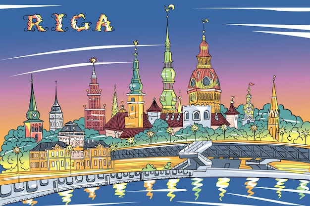 Schizzo vettoriale della città vecchia e del fiume daugava di notte, cattedrale di riga, chiesa di san pietro, basilica cattedrale di san giacomo e castello di riga sullo sfondo, riga, lettonia