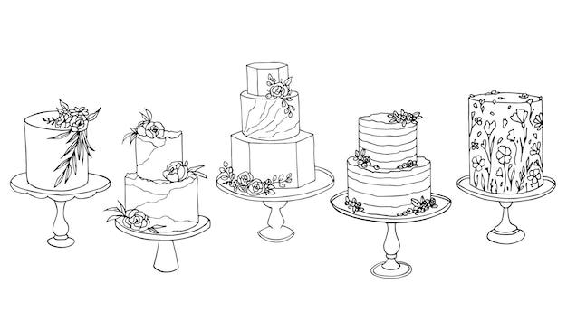 Schizzo vettoriale di torte nuziali di tendenza con decorazioni floreali e di frutta