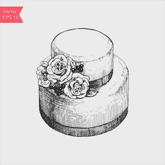 Il vettore ha abbozzato la torta nuziale con l'illustrazione delle rose