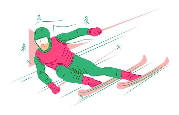 Sciatore vettoriale all'ombra di uno stile di linee nette
