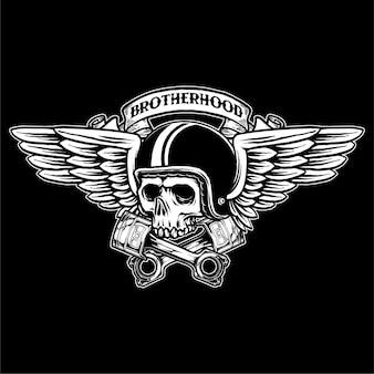 Vettore dell'illustrazione del logo del distintivo del motociclista del cranio