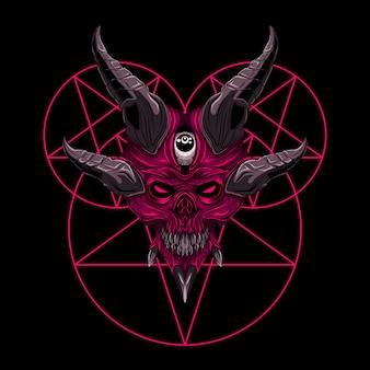 Illustrazione diabolica del demone del cranio di vettore