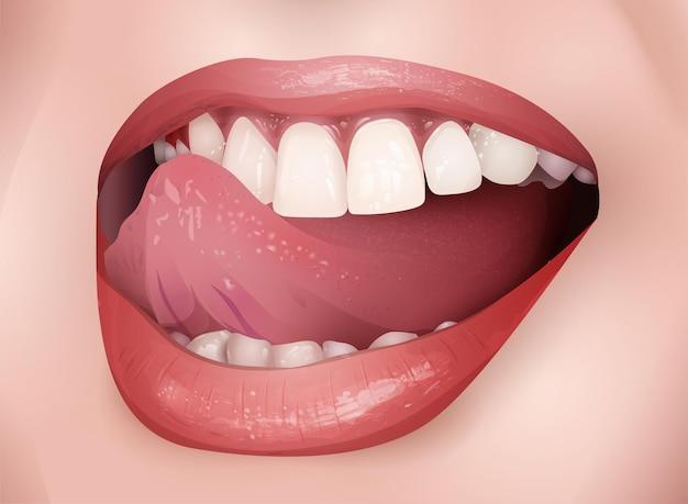Sorriso vettoriale con bocca aperta e gesto della lingua, illustrazione di moda realistica
