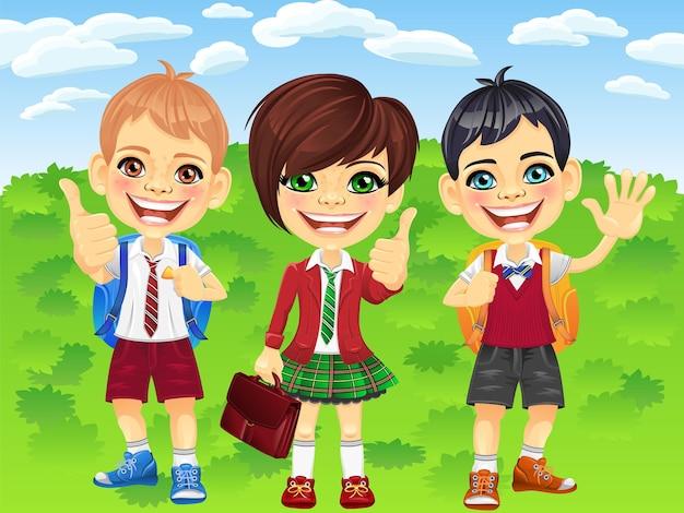 Ragazzi e ragazze di scolari sorridenti di vettore