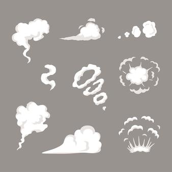 Modello di effetti speciali set fumo vettoriale. nuvole di vapore dei cartoni animati, soffio, nebbia, nebbia, vapore acqueo o esplosione di polvere. elemento clipart per gioco, stampa, pubblicità, menu e web design