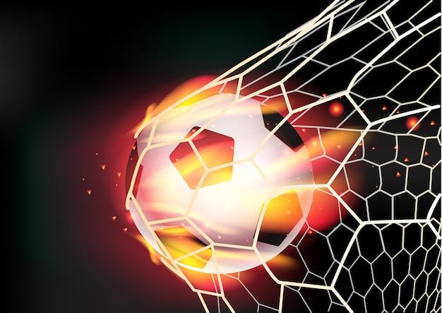 Pallone da calcio vettoriale in rete su fiamme di fuoco