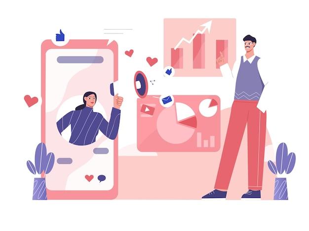 Vector social media marketing aumentare l'illustrazione piana delle entrate