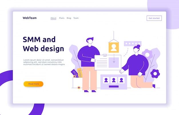 Vector social media e banner di creazione del sito web