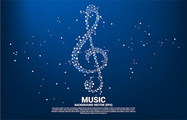 Nota di musica sol vettore chiave dalla linea dot connect