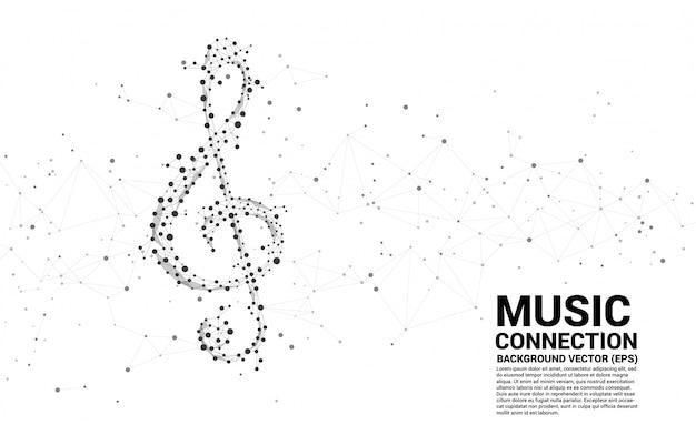 Nota di musica sol vettore chiave dalla linea dot connect. Vettore Premium