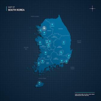 Illustrazione di mappa della corea del sud vettoriale con punti luce al neon blu