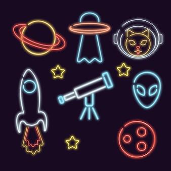 Icone spaziali vettoriali illustrazioni per bambini su un pianeta razzo spaziale