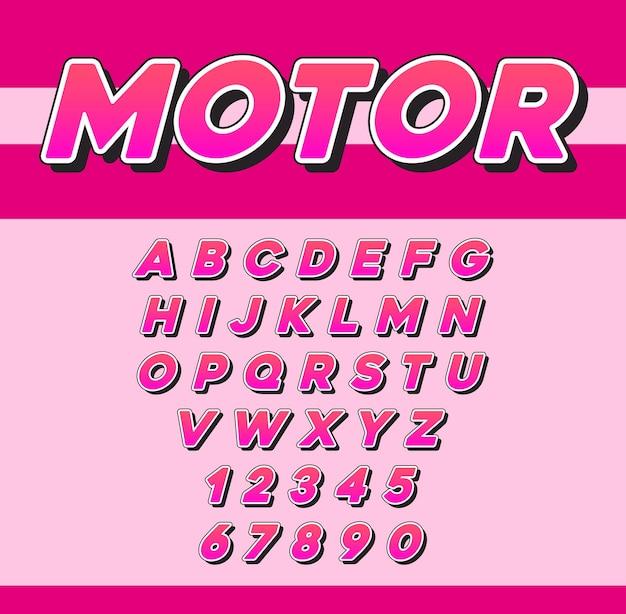 Carattere corsivo vettoriale speed racing sport con lettere e numeri