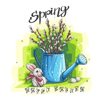 Illustrazione di saluto di pasqua di primavera vettoriale con coniglietto e salix caprea l in blu