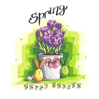 Illustrazione di saluto di pasqua della molla di vettore con le uova di pasqua e crochi in un vaso di fiori