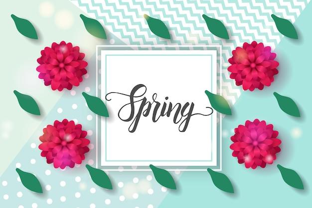 Vector spring greeting card con scritte alla moda fatte a mano