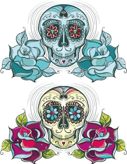 Cranio di zucchero vettoriale con rose. colorato e monocolore.