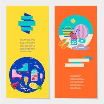 Illustrazione variopinta di estate di vettore, viaggi, vacanze. set di banner, cartoline, volantini con nastro e modello di testo. vacanze estive, vacanze, set di oggetti per feste in spiaggia