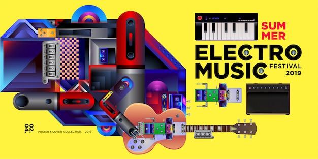 Modello di disegno di estate di vettore electro musica festival banner