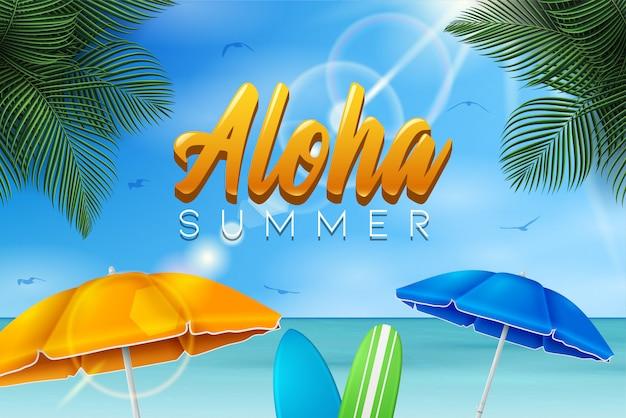 Illustrazione di vacanza estiva di vettore con pallone da spiaggia, foglie di palma, tavola da surf e tipografia lettera sul paesaggio dell'oceano blu.