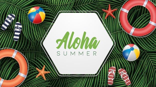 Illustrazione di vacanza estiva di vettore con la lettera di tipografia delle foglie tropicali sulle sabbie della spiaggia.